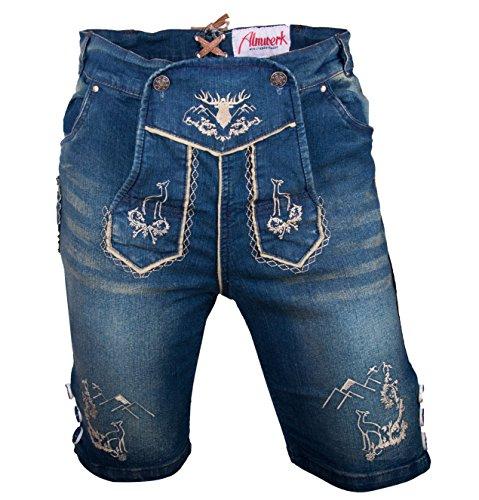 Almwerk Herren Trachten Jeans Lederhose kurz Modell Platzhirsch, Farbe:Blau;Lederhose Größe Herren:58