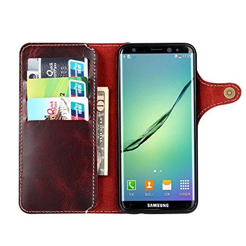 Samsung Galaxy S8 Hülle,EinsAcc Retro Echt Leder Schutzhülle Hülle Tasche für Samsung Galaxy S8 (blau) rot