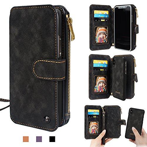iPhone X Geldbörse Tasche, iPhone X Abnehmbare Tasche Premium PU Leder Reißverschluss Handy Geldbörse Card Slots Stand Handgelenk Schultergurt Multifunktionsabdeckung für iPhoneX von CORNM (Schwarz)