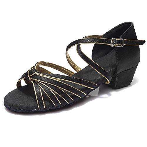 HIPPOSEUS Damen & Mädchen Sandalen Ausgestelltes Tanzschuhe/Ballsaal Standard Satin Latein Dance Schuhe,DE203,Schwarz+Gold,EU 34