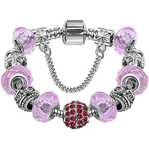 Moda Donna Argento fragole cristallo perline catena serpente braccialetti per braccialetti Pandora europeo collane ciondoli - Fragola Collana