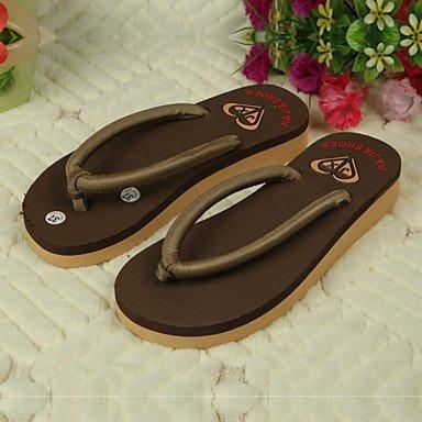 zhENfu Scarpe donna PVC tacco piatto infradito pantofole per esterno nero / marrone / giallo / il verde / rosa / Beige Brown