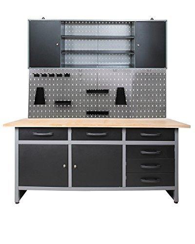 Ondis24 Werkstatteinrichtung 170cm, Werkstatt - Werkbank, Hängeschrank, Euro - Lochwand mit Haken