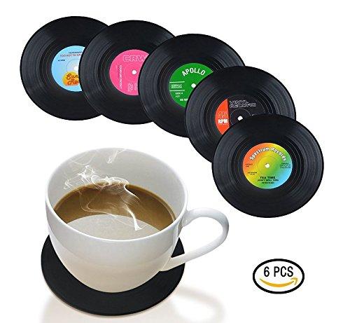 UChic Set von 6 Vinyl Record Retro Musik Untersetzer Art Auto Bar Tee Kaffeetisch Becher Bierflasche...