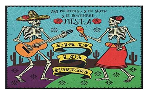 Lunarable Day of The Dead Fußmatte, Dia de Los Muertos, festliches Design, mit tanzendem spanischen Paar, Polyester, Rutschfeste Rückseite, 76,2 x 45,7 cm, Mehrfarbig