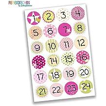 24 Adventskalender Zahlenaufkleber - rosa - Nr. 14 - Sticker zum basteln und dekorieren