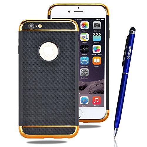 iPhone 6 / iPhone 6S Hülle, Yokata 2 en 1 Weich TPU Silikon Case mit Herausnehmbar Bumper Schutzhülle Dünne Case Cover + 1 X Capacitive Pen Gold