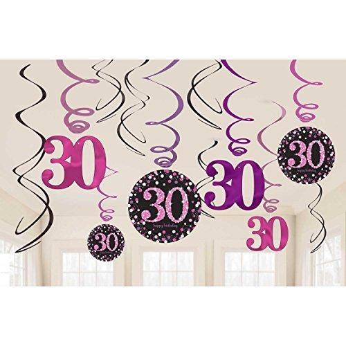 burtstag Swirl-Set 12 Stück Folienspiralen zum Aufhängen pink rosa glitter (Swirl-party Dekorationen)