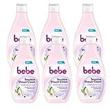 bebe Sensitive Shower Cream - Milde Cremedusche mit Aloe Vera Extrakt und Mandelbutter für empfindliche Haut - 6 x 250ml