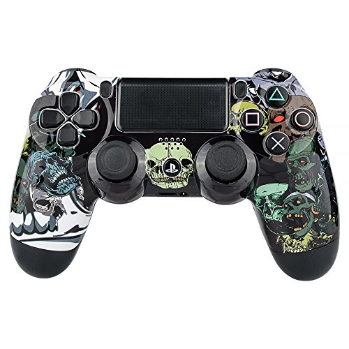 eXtremeRate Custom Design Glossy Demon Skull Replacement Shell Front Faceplate Cover for PlayStation 4 PS4 Controller Generation 1 and Generation 2 (Guide Plate Front)