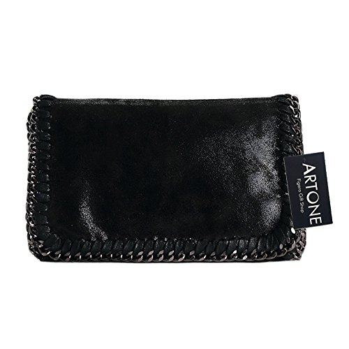 Artone Da Donna Pu Casual Catena Messenger Borsa Crossbody Nero Borsa Crossbody Bag nero misura mini ipad