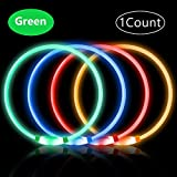 PetIsay Super Bright USB Rechargeable LED Dog Safety Collar, Glowing Pet Collar, Fashion Light Up Collar for Small Medium Large Dogs(Green) ...