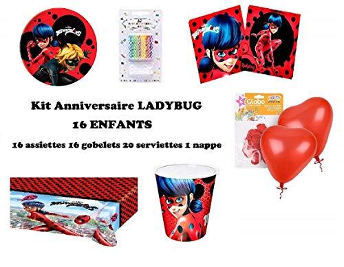 Mgs33 Kit Anniversaire Miraculous Ladybug Complet 20 Enfants (20 Assiettes, 20 gobelets, 20 Serviettes, 1 Nappe) fête + 20 Bougies + *1 Cadeau Lady Bug