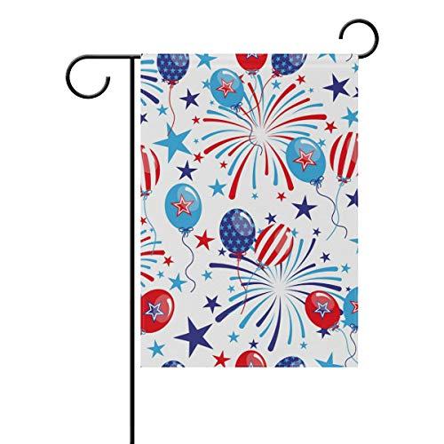 NaiiaN Garten-Flagge, doppelseitig, bunt, Ballon, Feuerwerk, 4. Juli, 30,5 x 45,7 cm, Polyester, Image 169, 28x40(in)