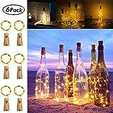 Koopower 6 Stk 20 LEDs 2M Flaschen Licht Warmweiß,5 Modi Lichterkette für Flasche LED Lichterketten Weinflasche Kupferdraht, batteriebetriebene für Flasche DIY, Garten Hochzeitsdekoration -