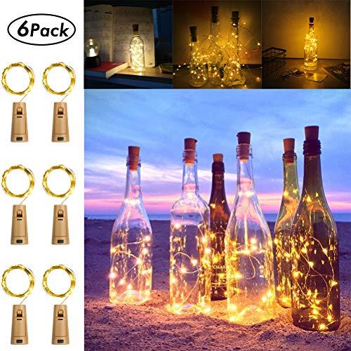 Koopower 6 Stk 20 LEDs 2M Flaschen Licht Warmweiß,5 Modi Lichterkette für Flasche LED Lichterketten Weinflasche Kupferdraht, batteriebetriebene für Flasche DIY, Garten Hochzeitsdekoration