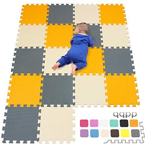 qqpp Eva Puzzlematte✔Kinderspielteppich✔Schaumstoffmatte✔Spielmatte Baby✔Spielteppich✔18 TLG. (30*30*1cm), Orange, Beige, Grau. QQC-BJLb18N