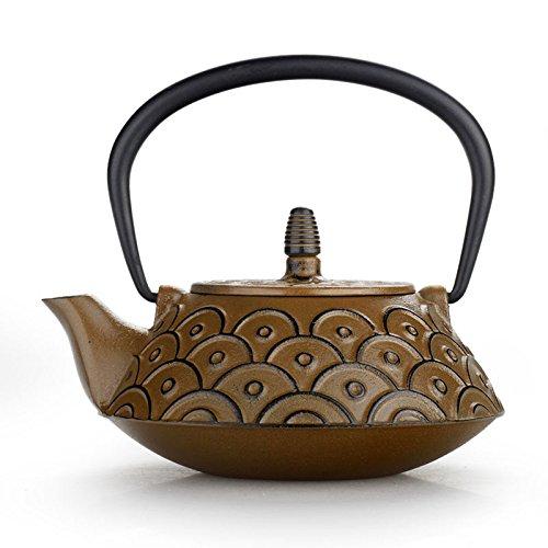 Giappone Cast Iron Pot scale di pesci a mano senza rivestimento Con 0.8L Tè filtro a rete bollito , yellow scales