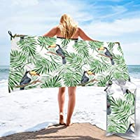 Socksforu Fast Quick Dry Towel,Sports & Beach Towel.Palm Leaves And Toucan Suitable For Camping, Gym, Yoga,Swimming,Travel,Hiking,Backpacking.