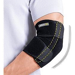 BRACOO Ellenbogenbandage mit Stabilisatoren – Ellenbogenorthese – Gelenkschiene | atmungsaktive Ellenbogenschiene mit Klettverschluss für extra Halt