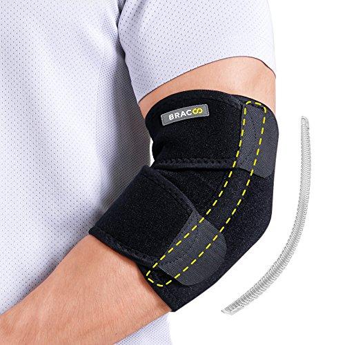 BRACOO Ellenbogenbandage mit Stabilisatoren | atmungsaktive Ellenbogenschiene mit Klettverschluss für extra Halt