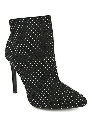 Cendriyon, Bottine Noire MILLIONS Strass Argentés Look Chaussures Femme Noir