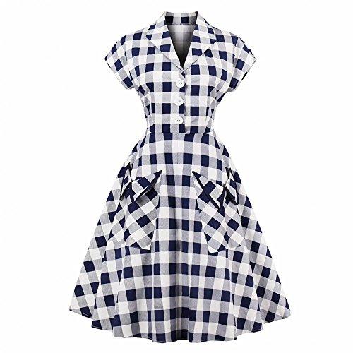 GLOGLOW Vestido Estilo escocés Estilo Vintage para Mujer, Solapa...