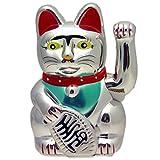 Winkekatze Glückskatze Maneki Neko, verschiedene Farben und Größen (16 cm, silber)