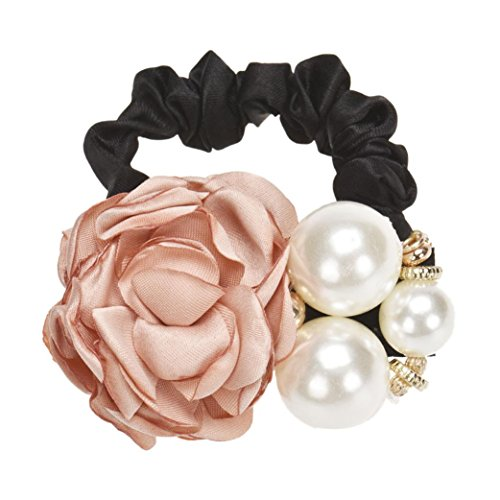 Ouneed® Perles Perles Fleur Rose Band Hair Rope Holder Scrunchie Ponytail (kaki)
