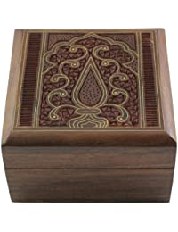 Jewelry Box in Wood Islamic Art Decor Inlay and Carving Size: 10 X 10 X 5.7 Cm