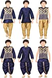 #6: Jeet Boys Blue Jacket Kurta Pyjama and Dhoti Set (4024U)
