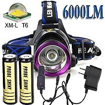 Linterna,DoraME Linterna de la luz de la cabeza linterna faro del CREE XM-L T6 LED 18650 linterna