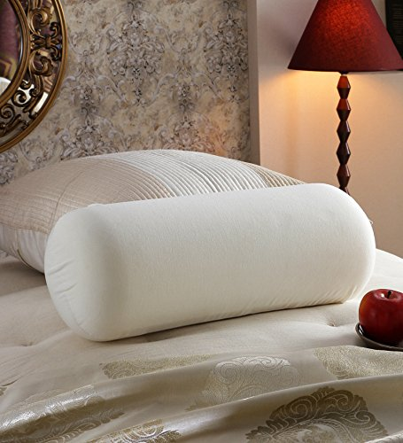 Cloth Fusion Cotton White Bed Bolster Pillows - Set Of 2(23X9-inches)