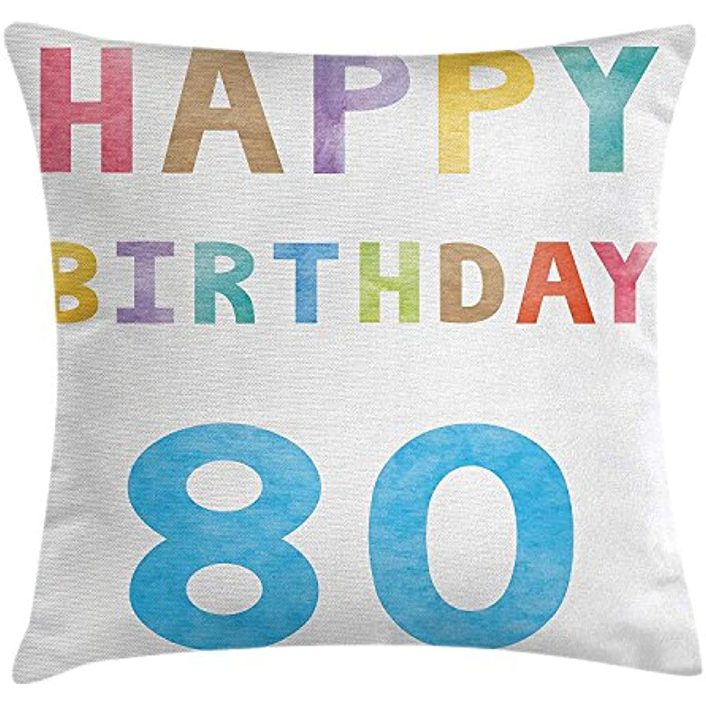 80th Birthday Decorations Throw Pillow Cushion Cover Old Ancient Abstract Vintage Happy Party Theme Artwork Decorative Square Accent Case