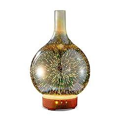 Idea Regalo - KGV Diffusore di olio essenziale in vetro 3D | Ultrasonic Aroma Essential Oil Diffuser | Con timer, funzione di spegnimento automatico, luce LED | per Yoga, Aromaterapia, regalo