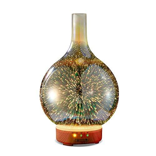 KGV 3D vidrio Difusor de aceite esencial | Premium Ultrasonic Aroma Diffuser | Difusor de aroma eléctrico ultrasónico | Con temporizador, función de apagado automático, luz LED | para Yoga, Aceite aromático, Aromaterapia, regalo, Navidad, Día de San Valentín, Hogar, Dormitorio, Sala de estar | humidificador Large room Gift Yoga Home Aromatherapy Timer Essential Oil
