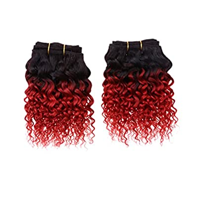 Emmet Short Curly Hair Extension 8Inch Easy Installing & Sewing Ombre Colors Brazilian Human Hair Can be Dyed and Permed Afro Kinky Weave 2Bundles/lot 50g/Bundle by Emmet