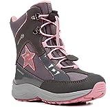 Geox J848BB Alaska WPF Mädchen Winterstiefel, Schnellverschluss, Wasserdicht, Warmfutter, Atmungsaktiv, Wechselfußbett Grau (DK Grey/Pink), EU 35