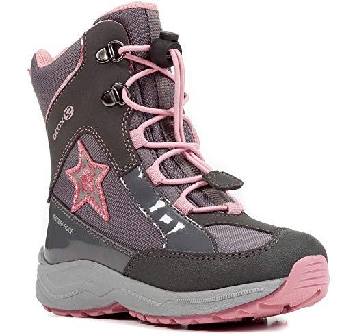 Geox J848BB Alaska WPF Mädchen Winterstiefel, Schnellverschluss, Wasserdicht, Warmfutter, Atmungsaktiv, Wechselfußbett Grau (DK Grey/Pink), EU 33