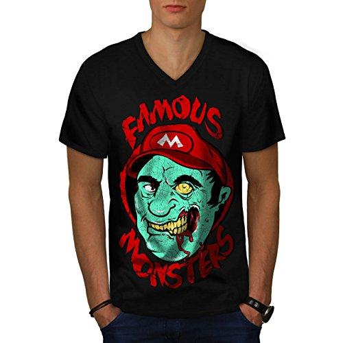 Mario Monster Tot Zombie Super Luigi Herren M V-Ausschnitt T-shirt | (Kostüm Mario Super Tot)