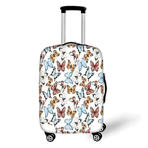Travel Luggage Cover Suitcase Protector,Butterflies,Various Colorful Butterflies Watercolor Style Print Wild Nature Bohemian Decor Decorative,Multi,for Travel,M -