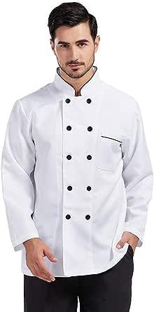 Stitched Chef Jacket Uniform Long Sleeves Hotel Restaurant Bakery Workwear