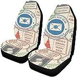 Enoqunt Fundas de asiento Retro Imprint Matasellos de viaje Buzón Butacas de coche Protector de vehículo Fundas de asiento de vehículo