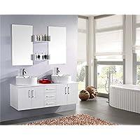 MOBILE BAGNO WHITE LION arredo bagno arredobagno 150 cm bianco laccato mobile + lavandini + specchi + 2 miscelatori completo moderno IL PIU VENDUTO