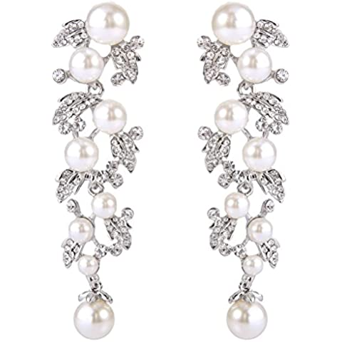 EVER FAITH???femminile Crystal White Pearl simulato nuziale Foglia ciondola gli orecchini trasparente silver-tone
