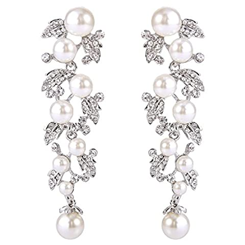 EVER FAITH® Women's Crystal White Simulated Pearl Bridal Leaf Dangle