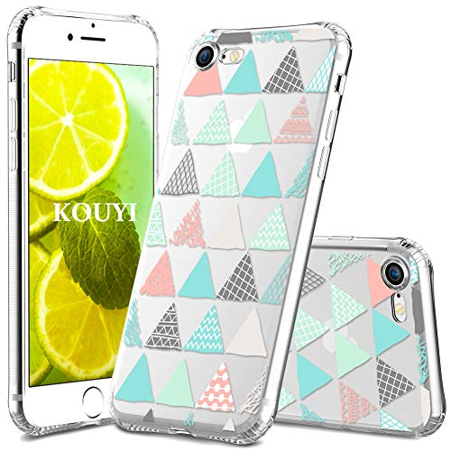 KOUYI Handyhülle kompatibel mit iPhone 8 / iPhone 7,Motiv Design Schutzhülle Silikon Case,Crystal Handy-Tasche Hülle Back-Cover Dünn Durchsichtig,Smart-Phone Bumper Etui (Dreieck#2)