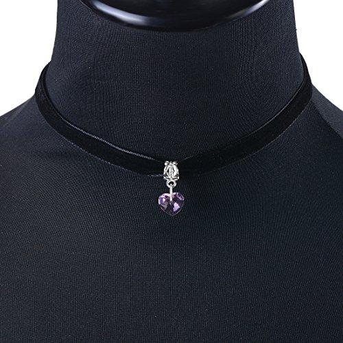 MJARTORIA Damen Halskette Schwarz Samtig Choker Pullover Kette Halsband Tattoo Kette Basteln Set Handarbeit Freundschaftsketten (Herz Anhänger)