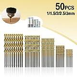 Bohrer MOHOO 50 1/1,5/2/2,5/3 mm Metallbohrer HSS Stahlbohrer Satz Spiralbohrer für Holz Kunststoff und Aluminium Kupfer Stahl