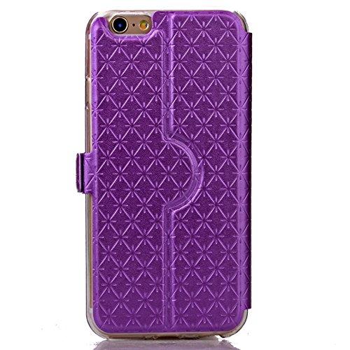 iPhone Case Cover Quadrat-Diamant-Gitter-Muster PU-lederner Fenster-Fall Weicher TPU Abdeckungs-Standplatz-Fall mit Karten-Schlitz für IPhone 6 6S ( Color : Orange , Size : IPhone 6S ) Purple